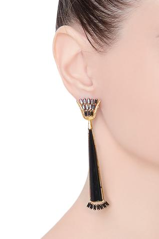 Glazed earrings with gold plating