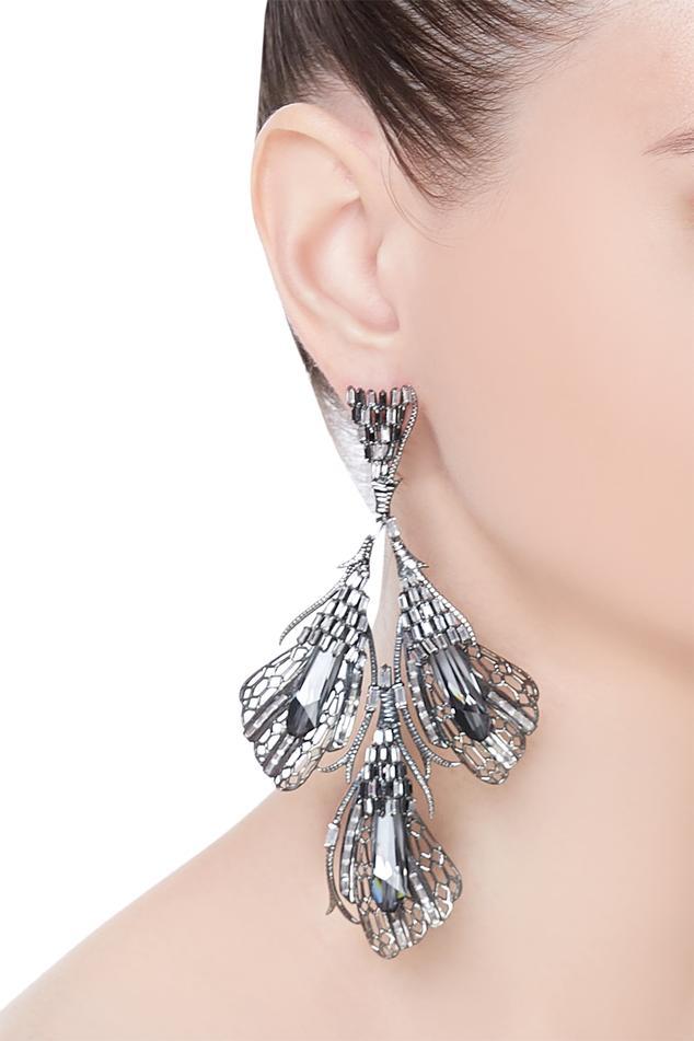 Enchanted silver night cascade earrings