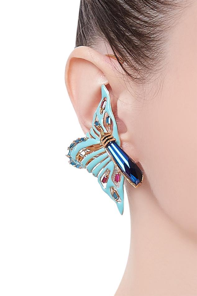 Handcrafted earrings encrusted with swarovski crystal