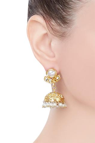 Jhumka earrings with pearl detail