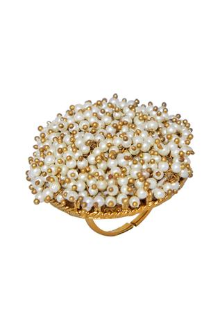 Pearl embellished statement ring