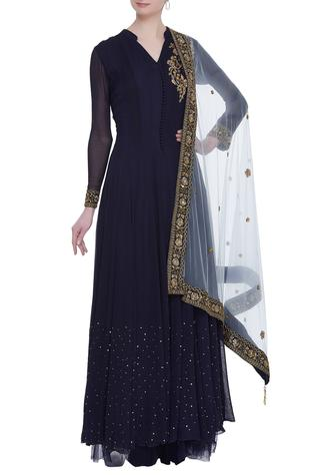 Embroidered Anarkali & Skirt Set