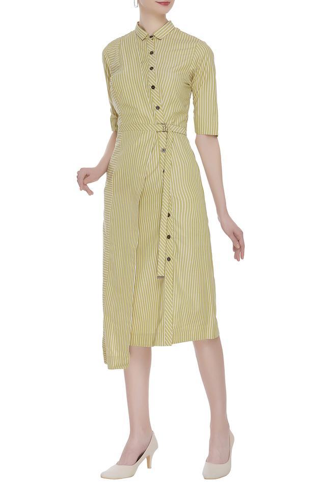 Striped asymmetric shirt dress.