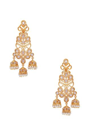 Dainty pearl jhumkas earrings
