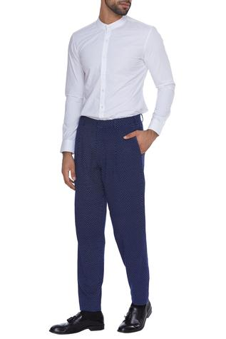 Micro print cotton trousers