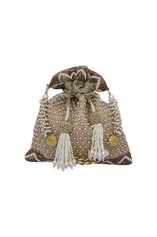 Pearl pop gold potli bag