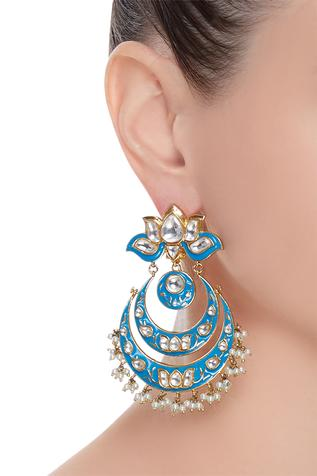 Blue embellished chaandbali earrings