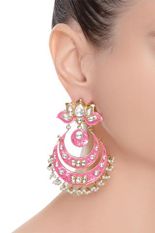 Pink embellished chaandbali earrings
