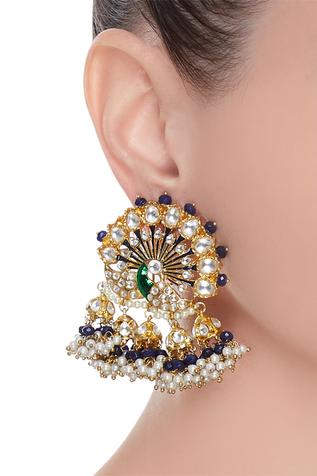 Peacock shaped earrings with meenakari work