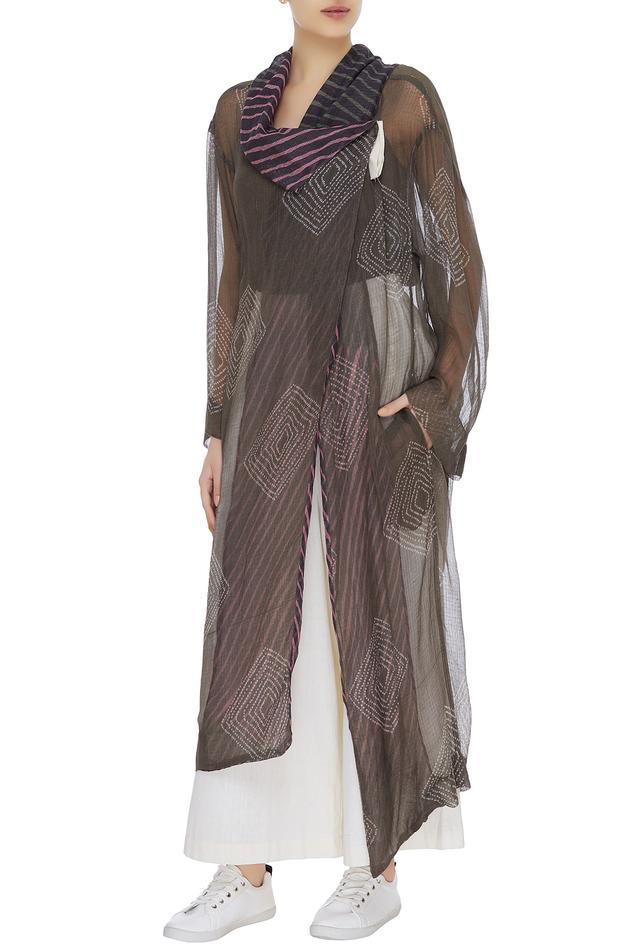 Shibori dyed sheer jacket