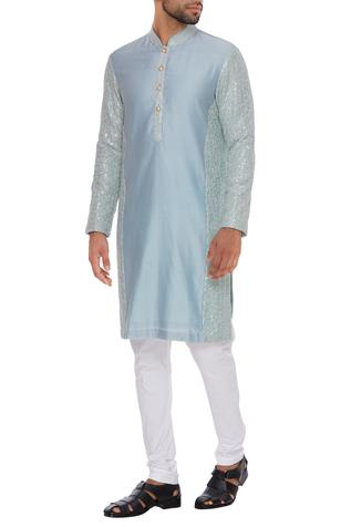 Sequins embroidered kurta with churidar