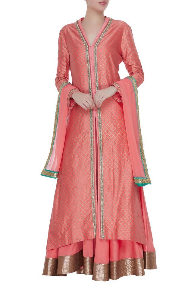Pure chanderi silk long jacket with skirt & dupatta