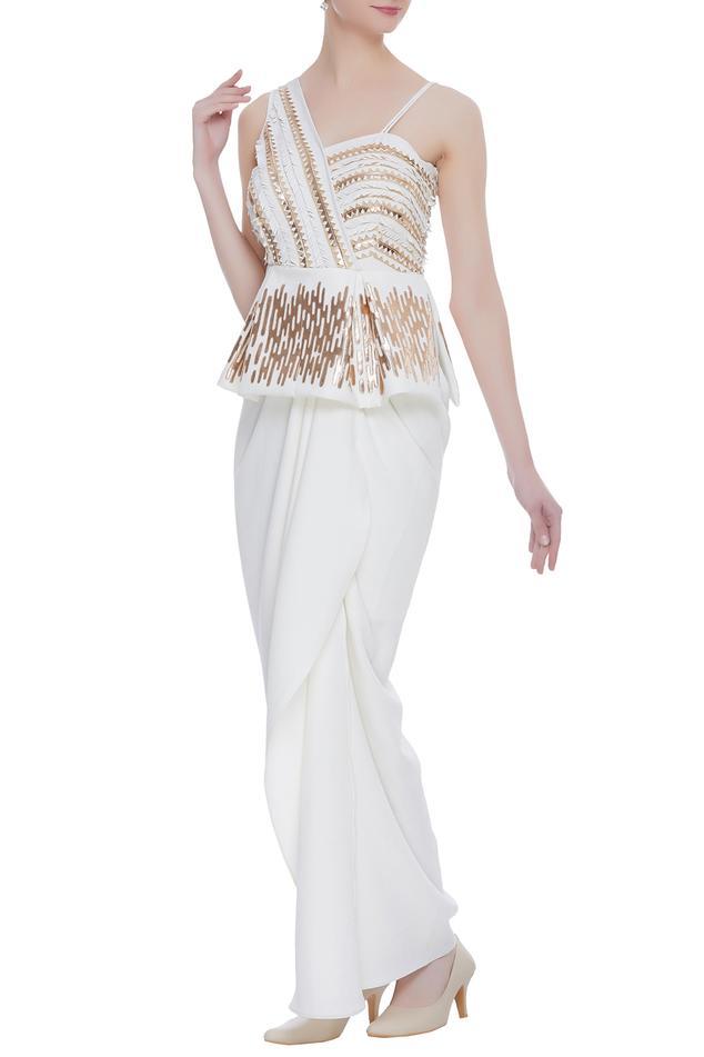Draped Peplum Gown