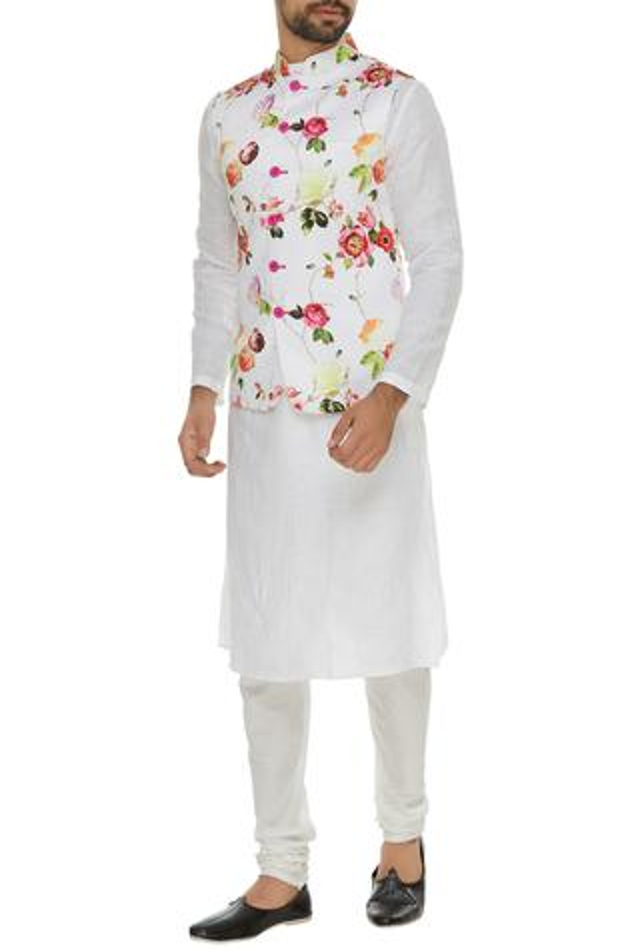 Floral printed bandhgala