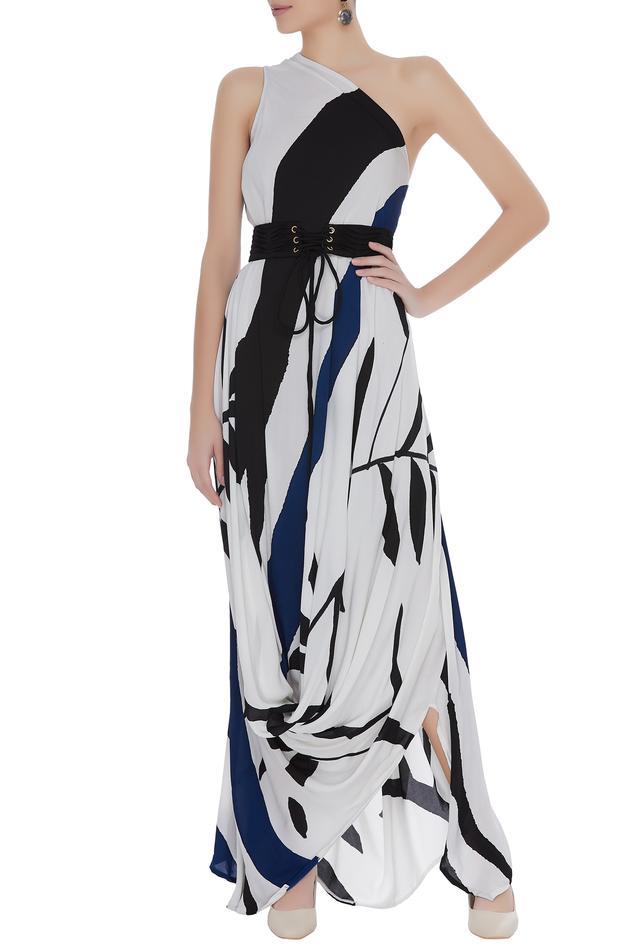 One shoulder draped dress with belt