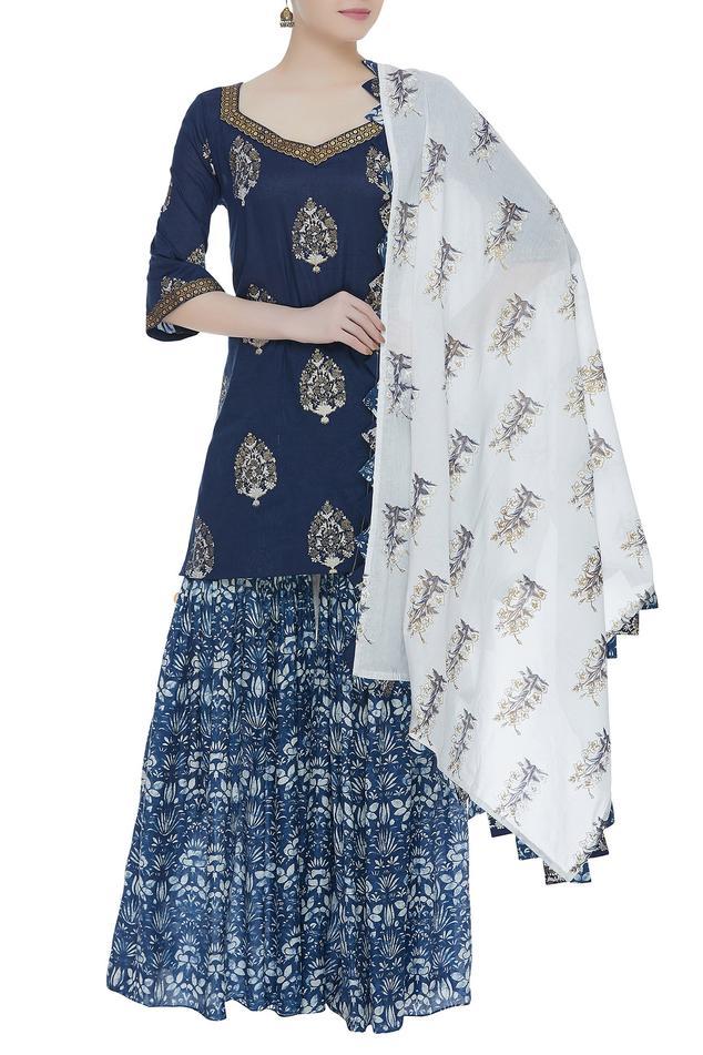 Dual color printed kurta & gharara set