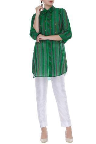 Chanderi Striped Shirt