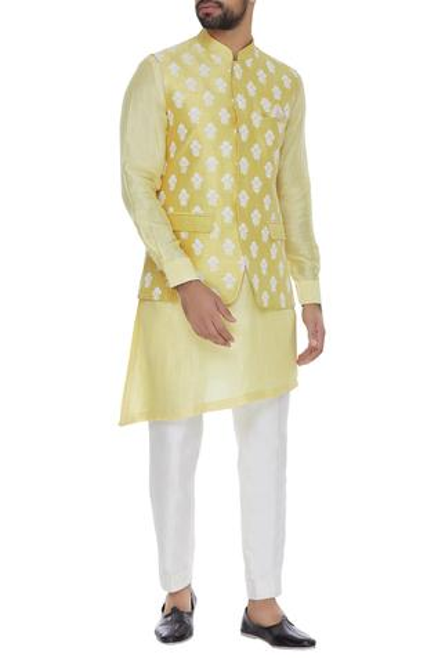 Raw silk embroidered nehru jacket