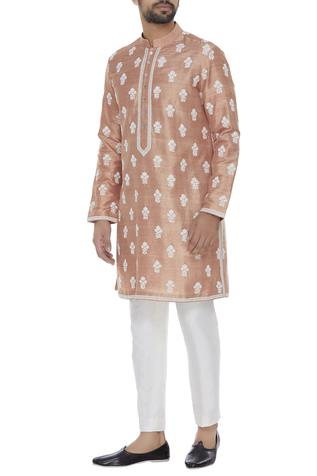 Cord embroidered raw silk kurta