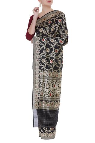Jaal work handwoven saree with unstitched blouse