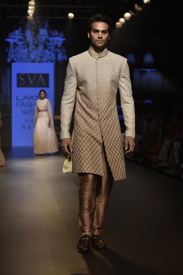 Raw silk resham embroidered sherwani with pants