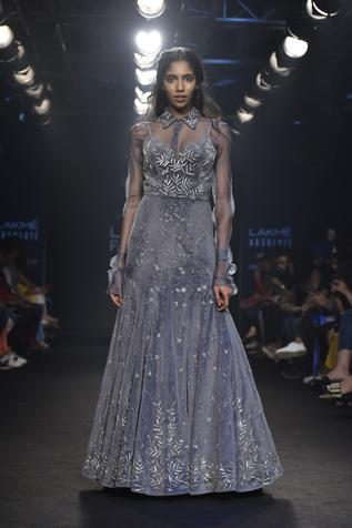 Embroidered Gown with Shirt