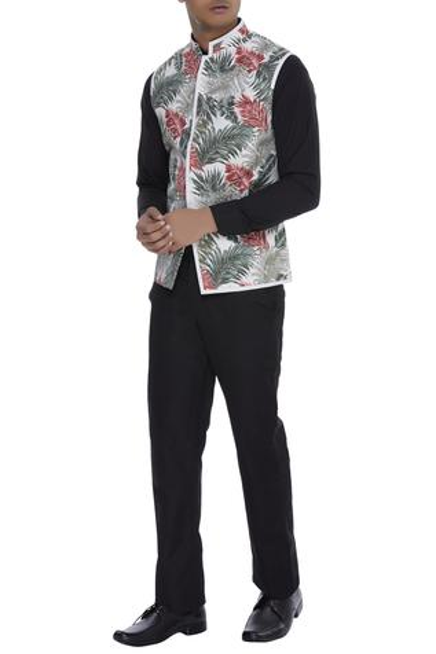 Tropical print Nehru jacket
