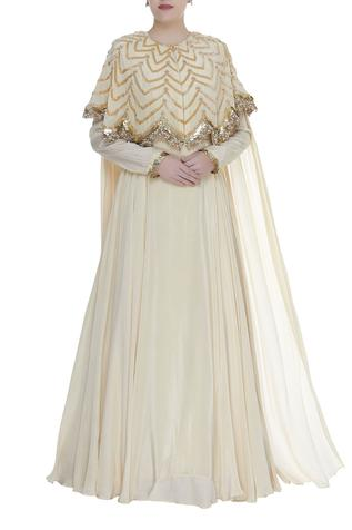 Anarkali gown with embroidered cape