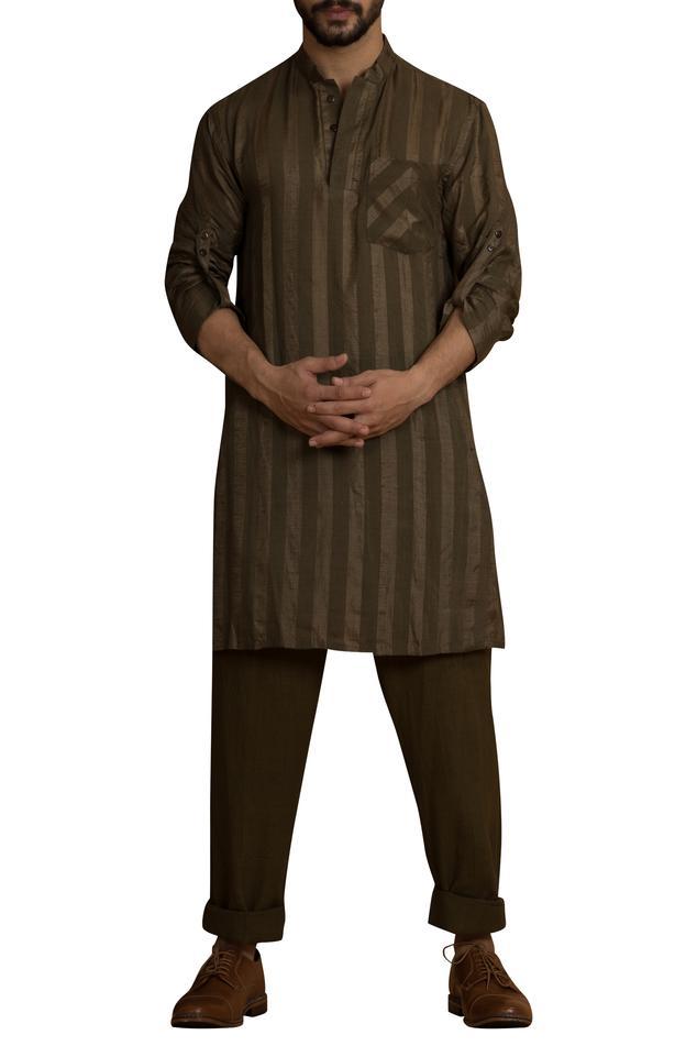 Mandarin collar handwoven kurta