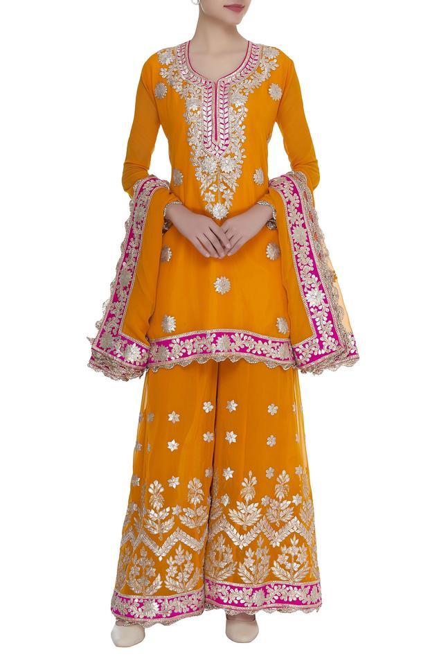 Chanderi Silk Kurta Sharara Set