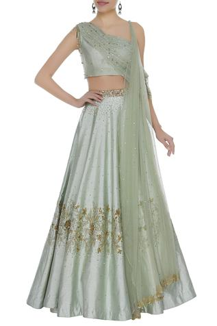 Sequin Lehenga Set With One shoulder blouse & attached drape