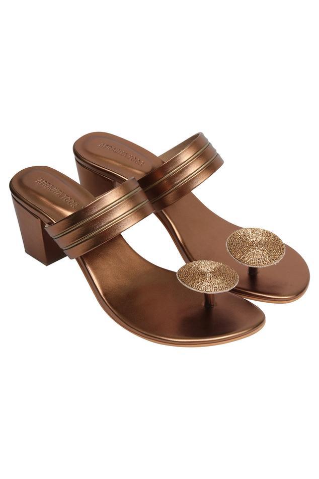 Embellished box heel sandals..