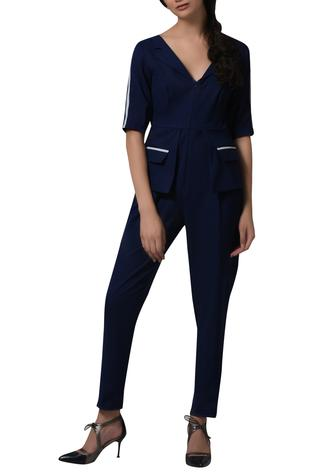 Contrast piping blazer playsuit