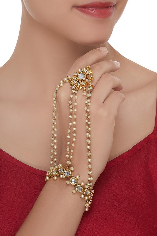 Pearl & kundan studded haathphool