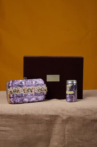 Pearl & kundan festive clutch & pocket square with gift box