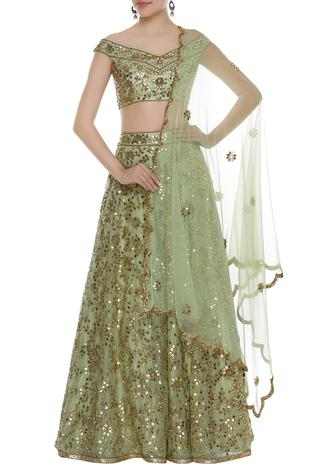 Mirror & Cutdana Embroidered Off Shoulder Lehenga Set