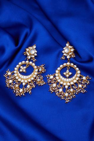 Floral Stone Chandbali Earrings