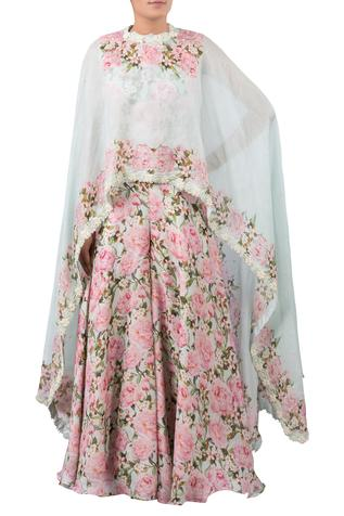 Floral print jumpsuit with embroidered cape