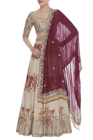 Printed & embroidered lehenga with blouse & dupatta