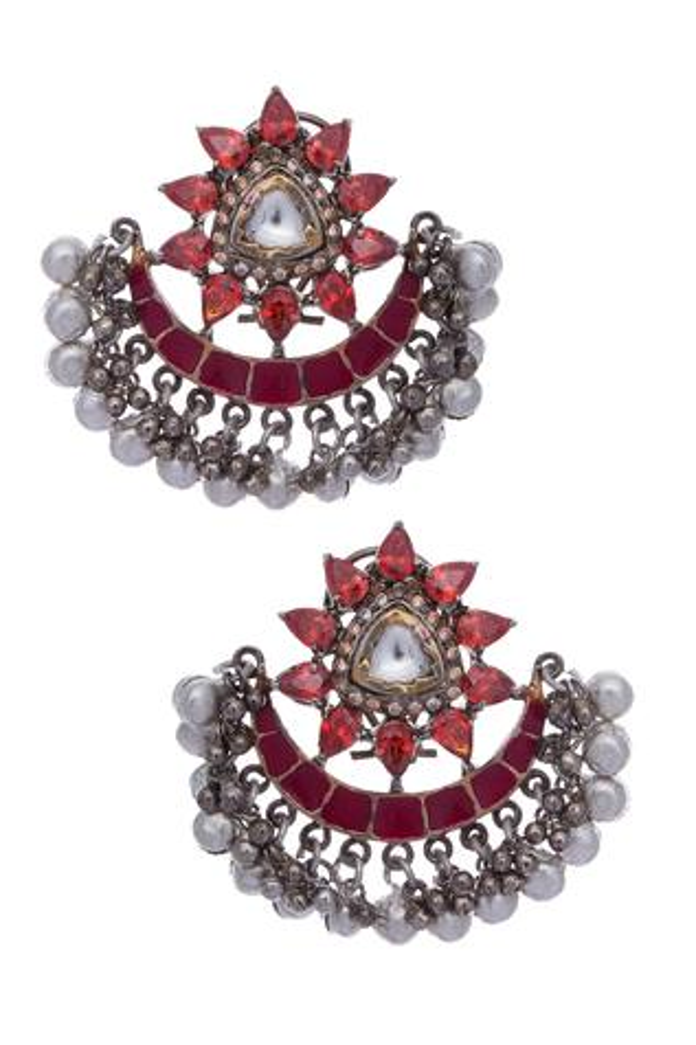 Floral frame chandbali earrings