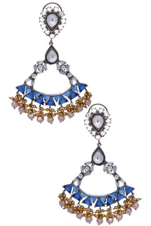 Pearl, stone encrusted earrings