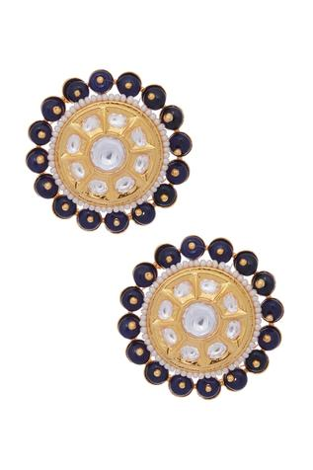 Kundan & pearl stone stud earrings
