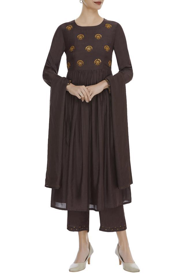 Zari Embroidered Kurta With Pants & Dupatta