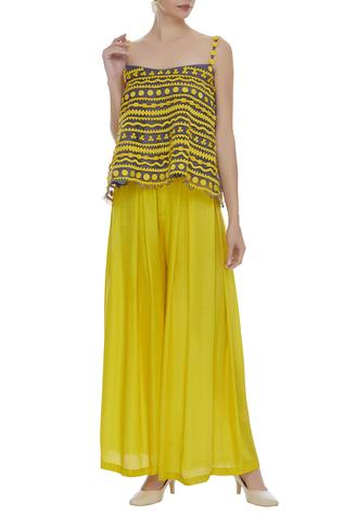 Cut work top with palazzo pants