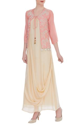 Embroidered jacket with draped inner tunic