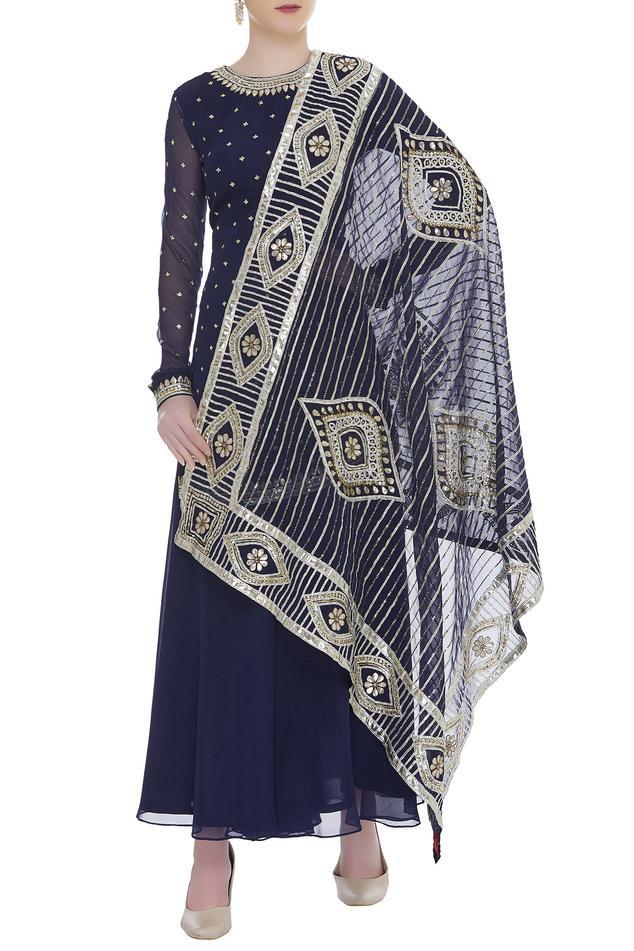 Embellished kurta with gota embroidered dupatta & sharara