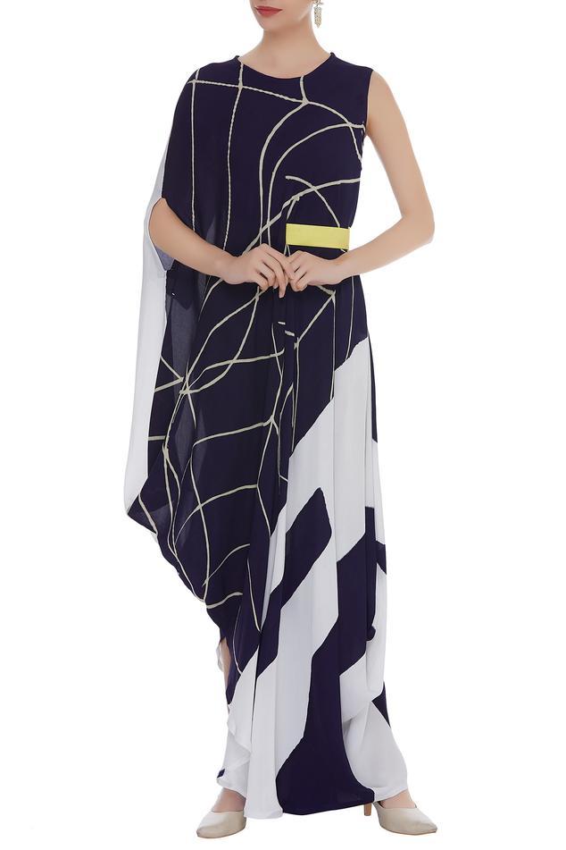 Hand Painted Draped Dress