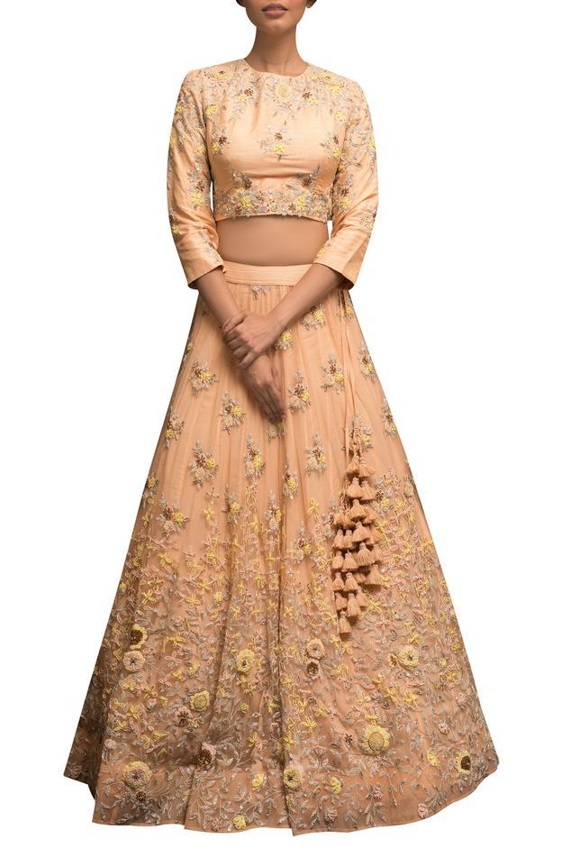 Embellished blouse with lehenga