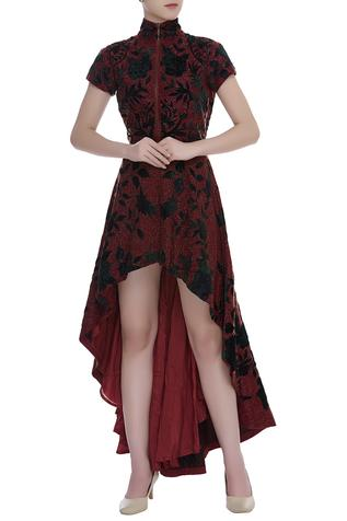Embroidered High Low Gown
