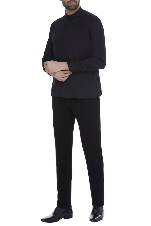 Full sleeves band collar shirt